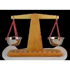 Decor-Spielzeug Holz Waage mit 10 Gewichten aus Edelstahl
