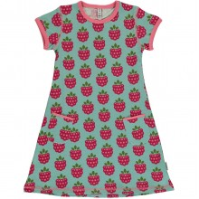 maxomorra Dress SS RASPBERRY Mädchen Kurzarmkleid GOTS Gr. 86 - 128