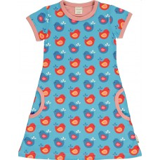 maxomorra Dress SS BRIGHT BIRDS Mädchen Kurzarmkleid GOTS Gr. 98 - 140