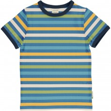 maxomorra Top SS STRIPE - OCEAN Kinder T-Shirt GOTS Gr. 122/128 & 134/140
