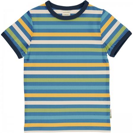 maxomorra Top SS STRIPE - OCEAN Kinder T-Shirt GOTS Gr. 122/128