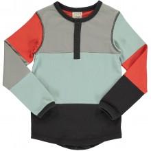 maxomorra Top LS Slim Button Block Kinder Langarmshirt GOTS Gr. 86 - 140