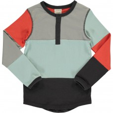 maxomorra Top LS Slim Button Block Kinder Langarmshirt GOTS Gr. 86 - 140