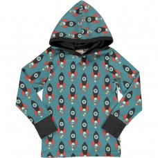 maxomorra Top LS Hood MOON ROCKET Kinder Kapuzenshirt GOTS Gr. 110 - 140