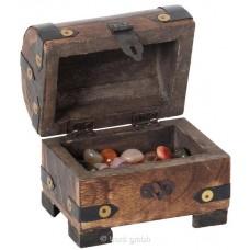 Holz Edelsteintruhe - inklusive Mineralien & Halbedelsteinen