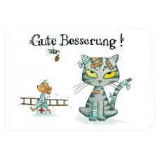 """Grätz Verlag - Klappkarte mit Katze """"Gute Besserung"""" - Illustration: Outi Kaden"""