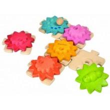 PlanToys Getriebepuzzle Kleinkindpuzzle mit Zahnrädern